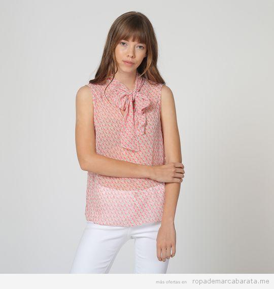 Blusa lazo cuello marca Sophie barata, outlet