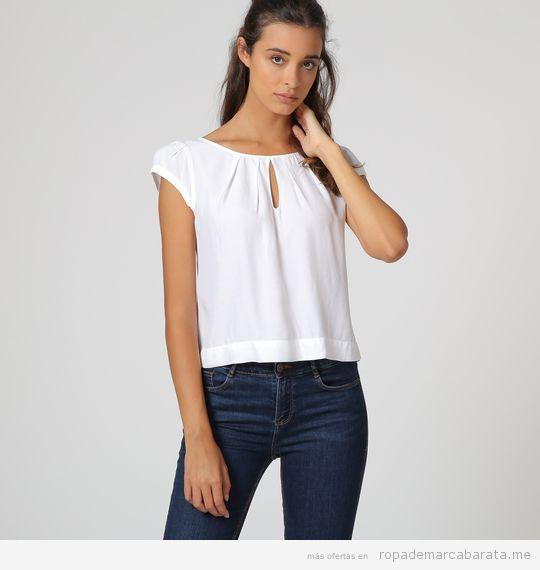 Blusa blanca marca Sophie barata, outlet