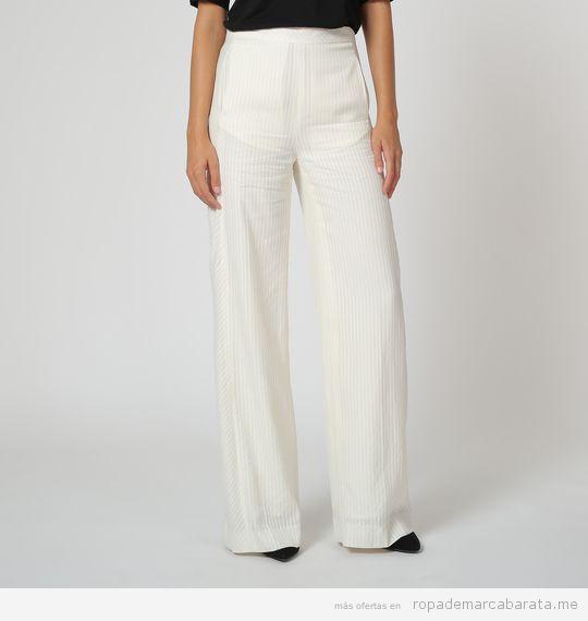 Pantalón blanco ancho marca Angel Schlesser baratos, outlet
