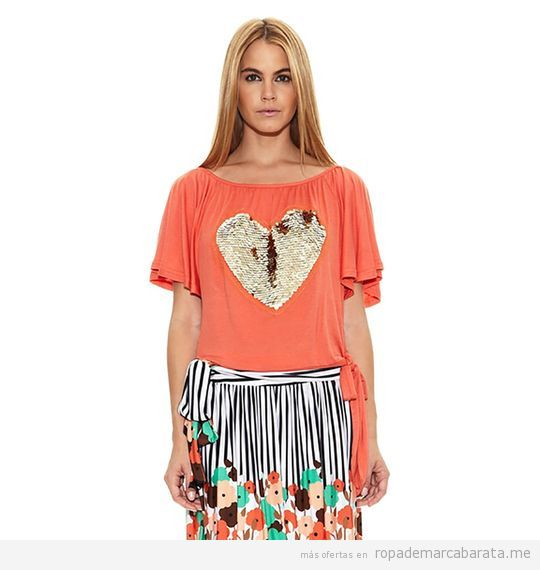 Camiseta corazón pailletes marca Barbarella barata, outlet