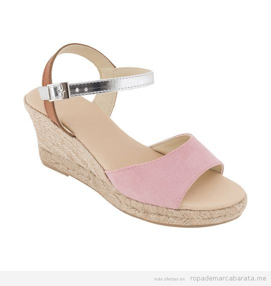 Sandalias cuña rosas marca Why Not baratas, outlet