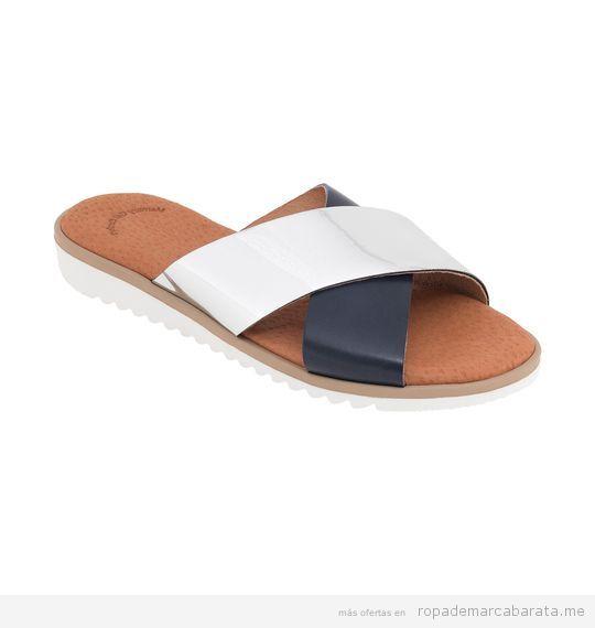 Sandalias planas blancas y azules marca Why Not baratas, outlet