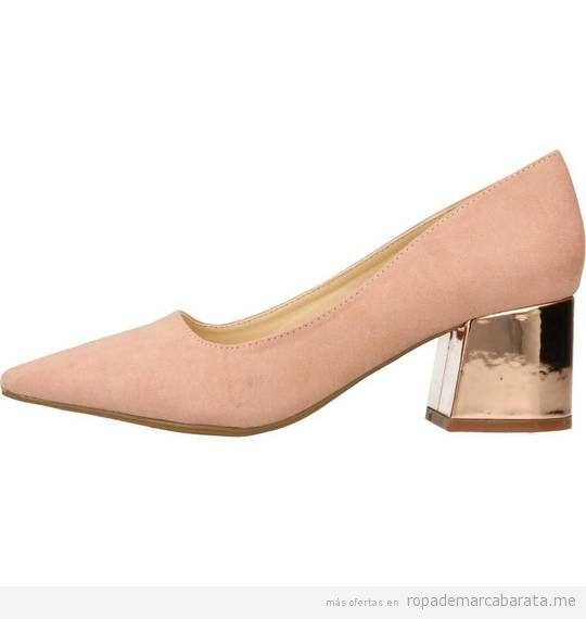 Zapatos tacón bajo rosa marca Chika10 baratos de rebajas