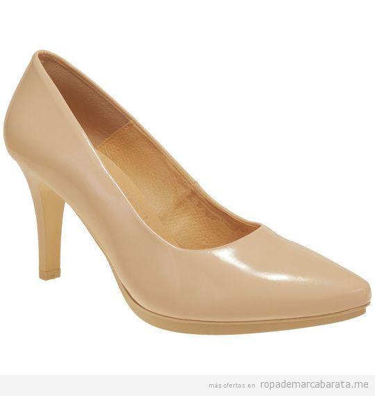 Zapatos tacón beige marca Chamby baratos de rebajas