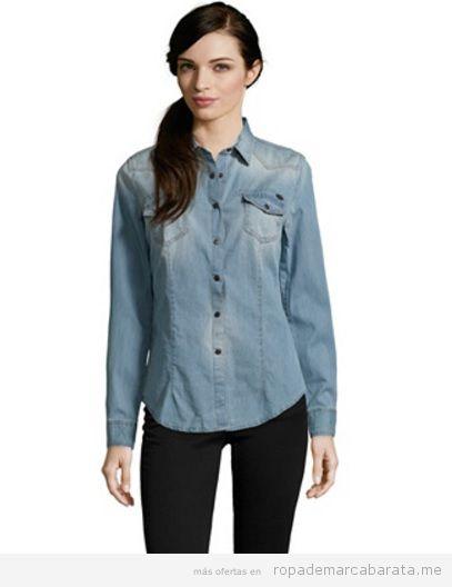 Camisas tejanas mujer marca Sisley baratas, outlet