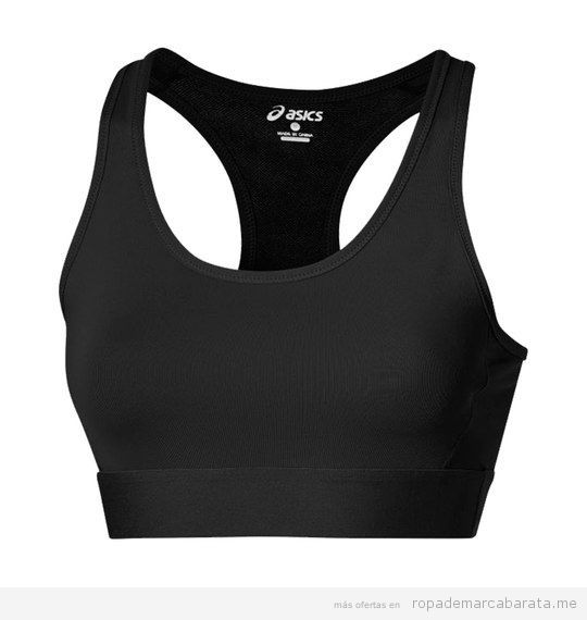 Top deporte negro marca Asics barato, outlet