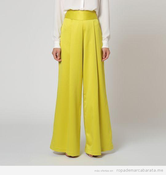 Pantalones palazzo verde pistacho marca Rouss & Rouss barato, outlet