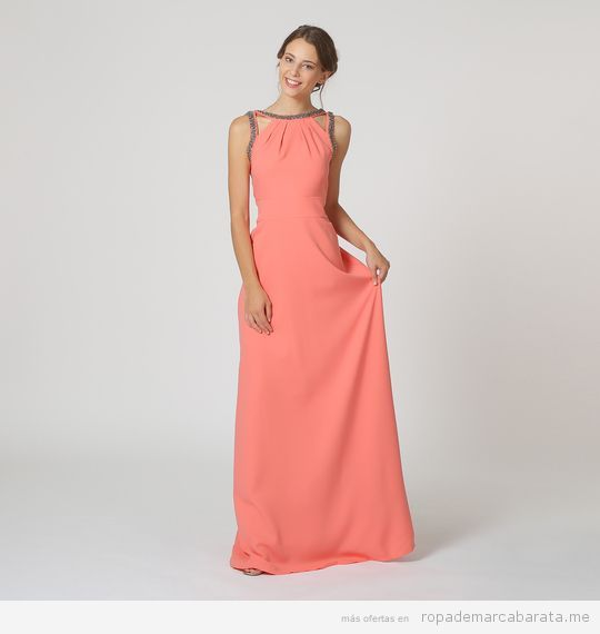 Vestido largo fiesta coral marca Rouss & Rouss barato, outlet