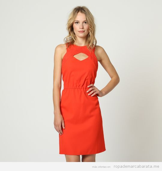 Vestido rojo marca Naf Naf barato, outlet