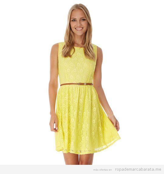 Vestido encaje amarillo marca Yumi baratos, outlet