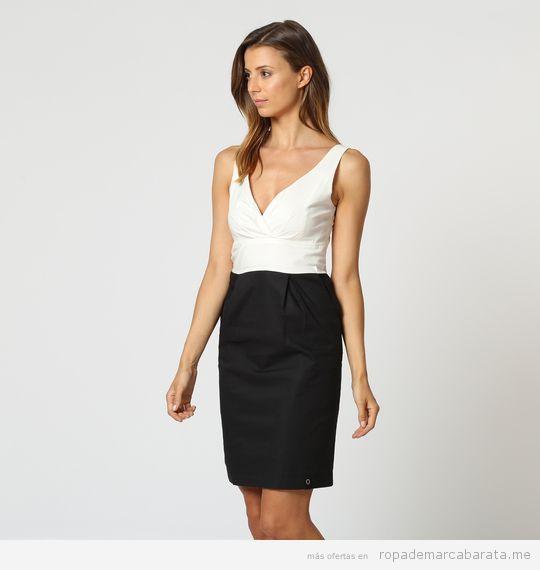 Vestido negro y blanco marca Zergatic barato, outlet