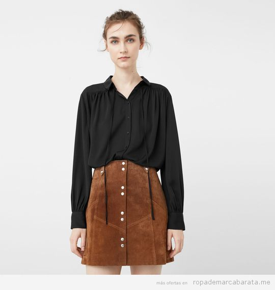 Blusa negra marca Mango barata, outlet