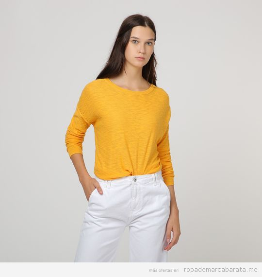 Jersey amarillo algodón marca Pepe Jeans barato, outlet
