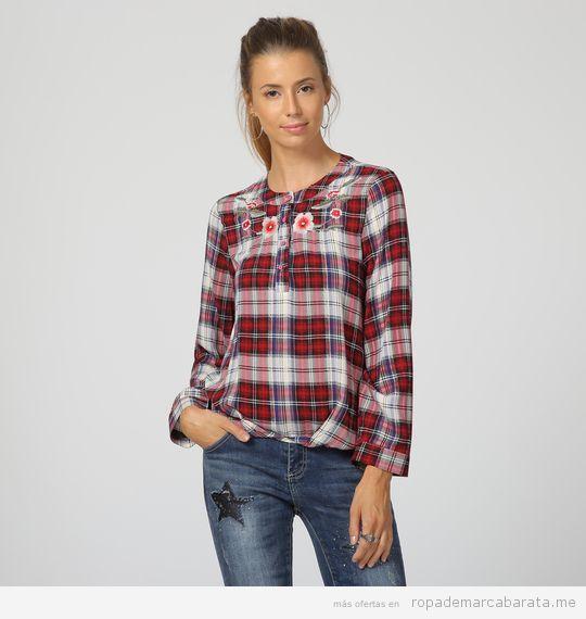 Camisa cuadros marca La Morena barata, outlet