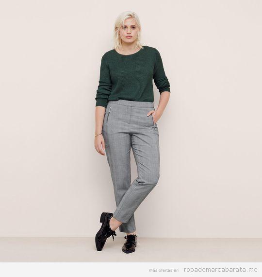 Pantalones tallas grandes marca Violeta Mango baratos, outlet