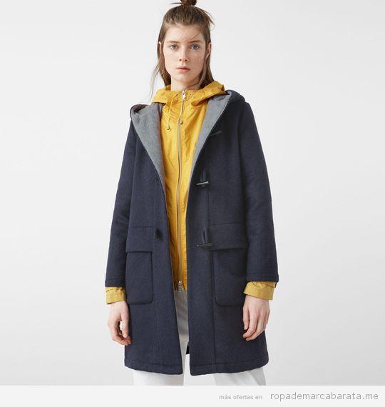 Abrigo Trenca con capucha marca Mango barato color azul