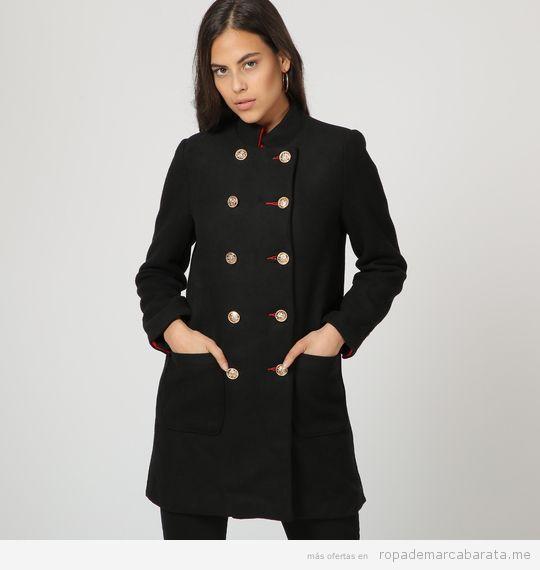 Abrigo negro marca Unics barato, outlet