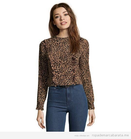 Blusa leopardo marca Bershka barata, outlet