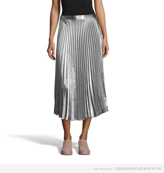 Falda plateada marca Bershka barata, outlet