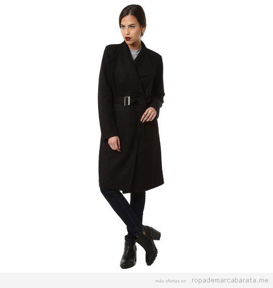 Abrigo negro de mujer marca Oeuvre Madrid barato, outlet