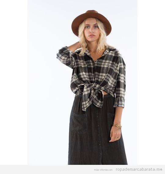 Camisa cuadros mujer marca Billabong barata, outlet