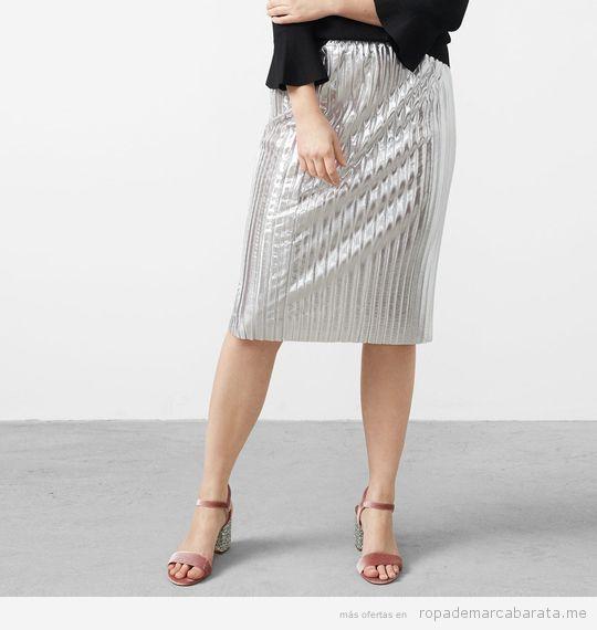Ropa tallas grandes Violeta Mango, falda plateada