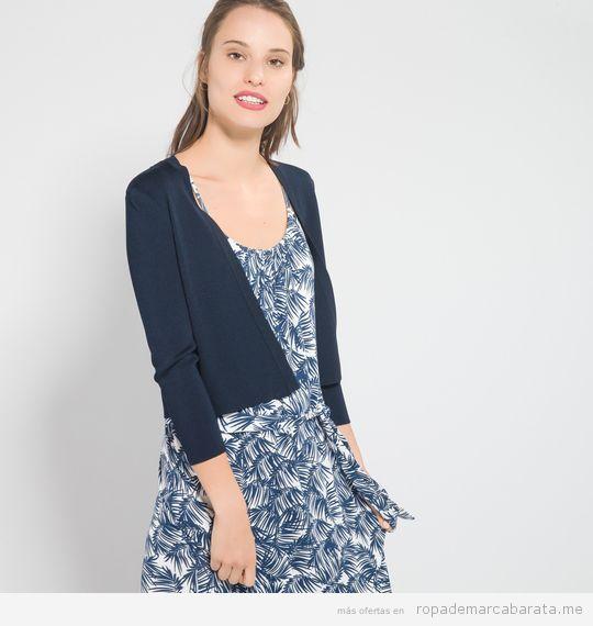 Ropa marca Caroll Paris barata, chaqueta de punto azul
