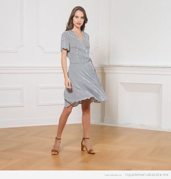 Ropa marca Caroll Paris barata, vestido de rayas