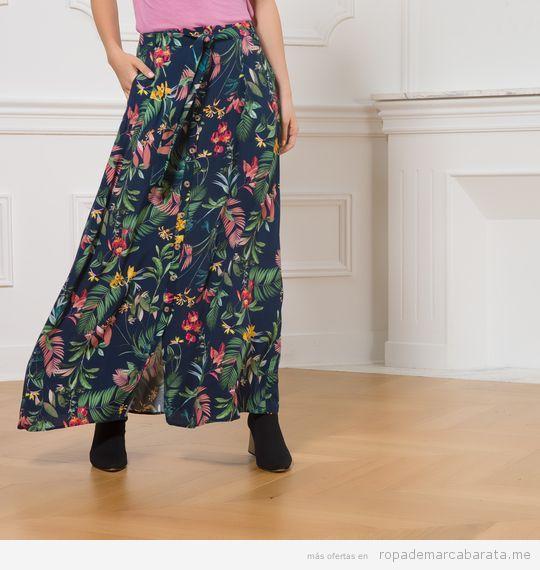 Ropa marca Caroll Paris barata, maxi falda flores