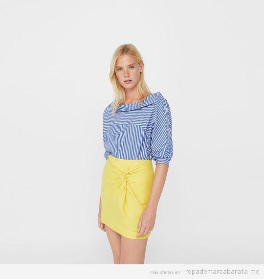 Falda amarilla marca Mango de verano barata, outlet