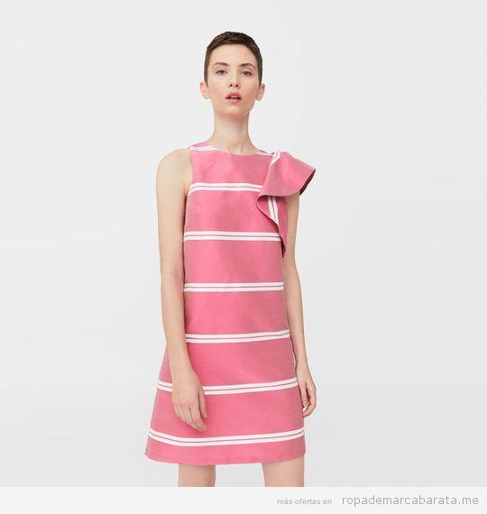 Vestido rayas rosa marca Mango de verano barato, outlet