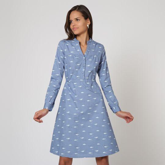 Vestido azul estampado marca Trakabarraka barato
