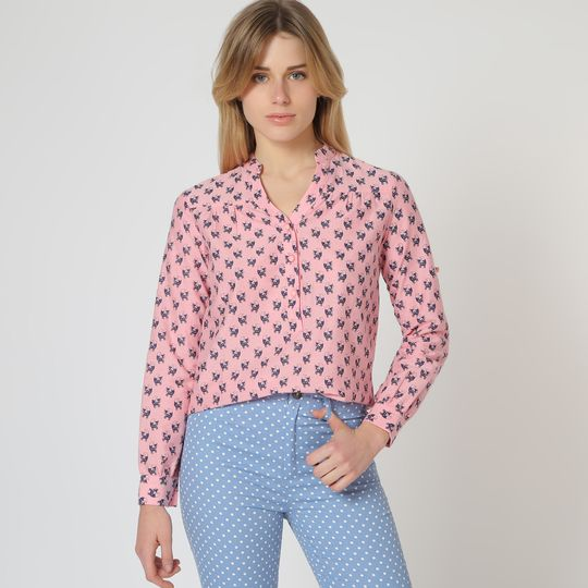 Blusa azul estampada marca Trakabarraka barata