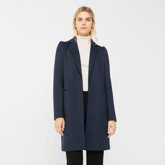 Abrigo azul oscuro marca Mango barato, outlet