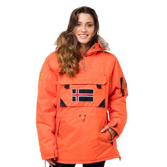 Anorak marca Geographical Norway naranja barato para mujer