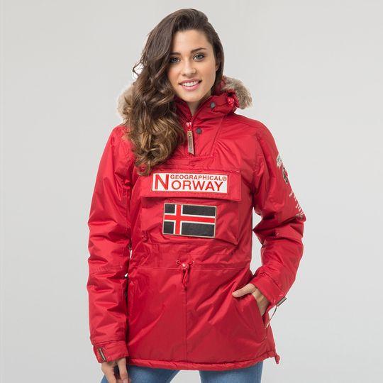 Anorak marca Geographical Norway rojo barato para mujer
