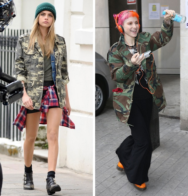 Look de camuflaje Cara Delevingne y Hayley Williams