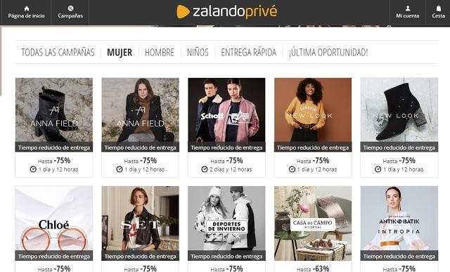 Mejores webs ropa marca barata España Zalando Privé