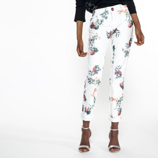 Pantalones blancos flores marca Desigual baratos