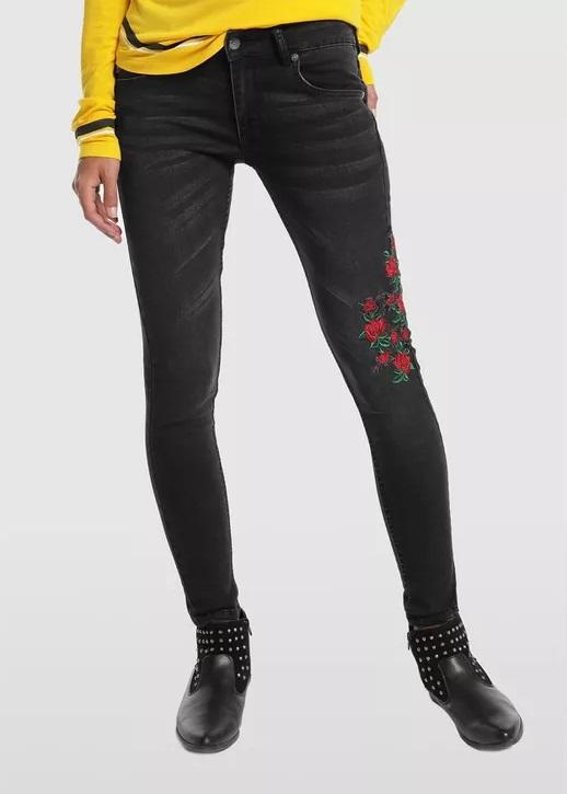 Pantalones vaqueros jeans marca Lois baratos negros con rosas
