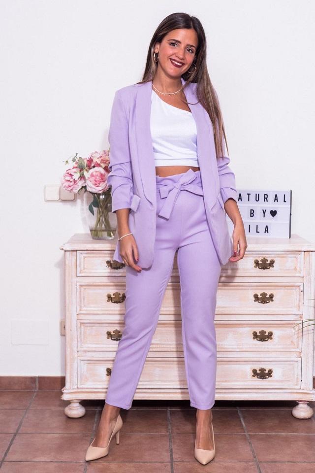 Conjunto graduación pantalón y blazer lila