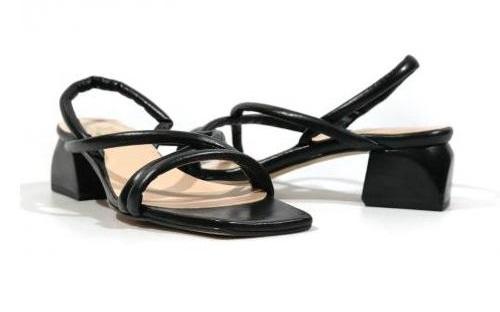 Sandalias negras de tira
